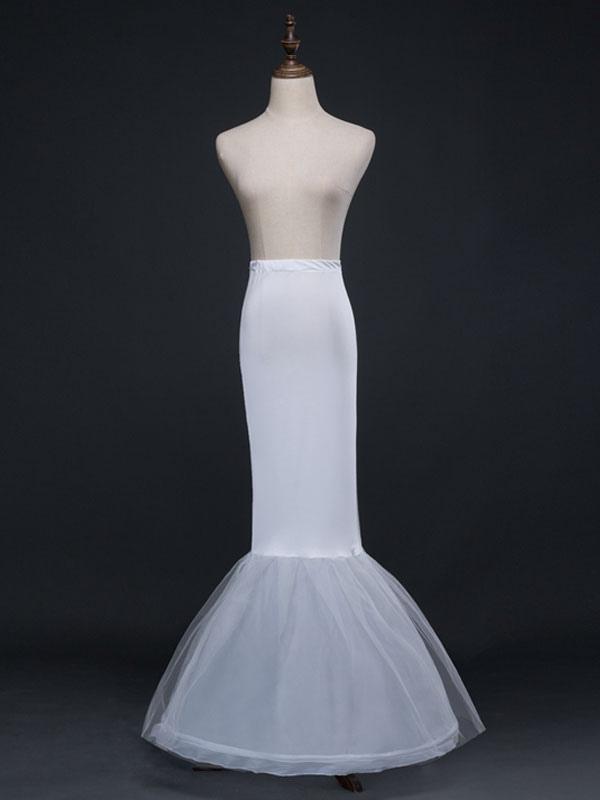 Ivory Wedding Petticoat Tulle Long Mermaid 1 Layer 2 Hoop Bridal Petticoat