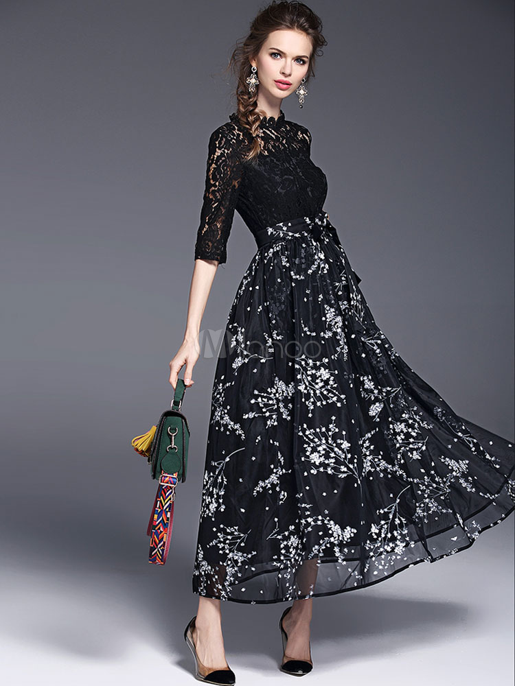 Buy Black Lace Dress Women's Round Neck Half Illusion Sleeve Printed Waist Bow Tie Semi Sheer A Line Long Dress for $37.99 in Milanoo store