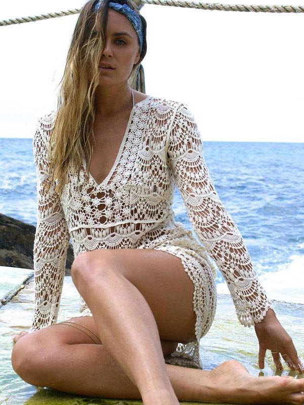 b2fa27479bb41 ... Crochet Cover Ups Women's Apricot Long Sleeve V Neck Beach Cover ...