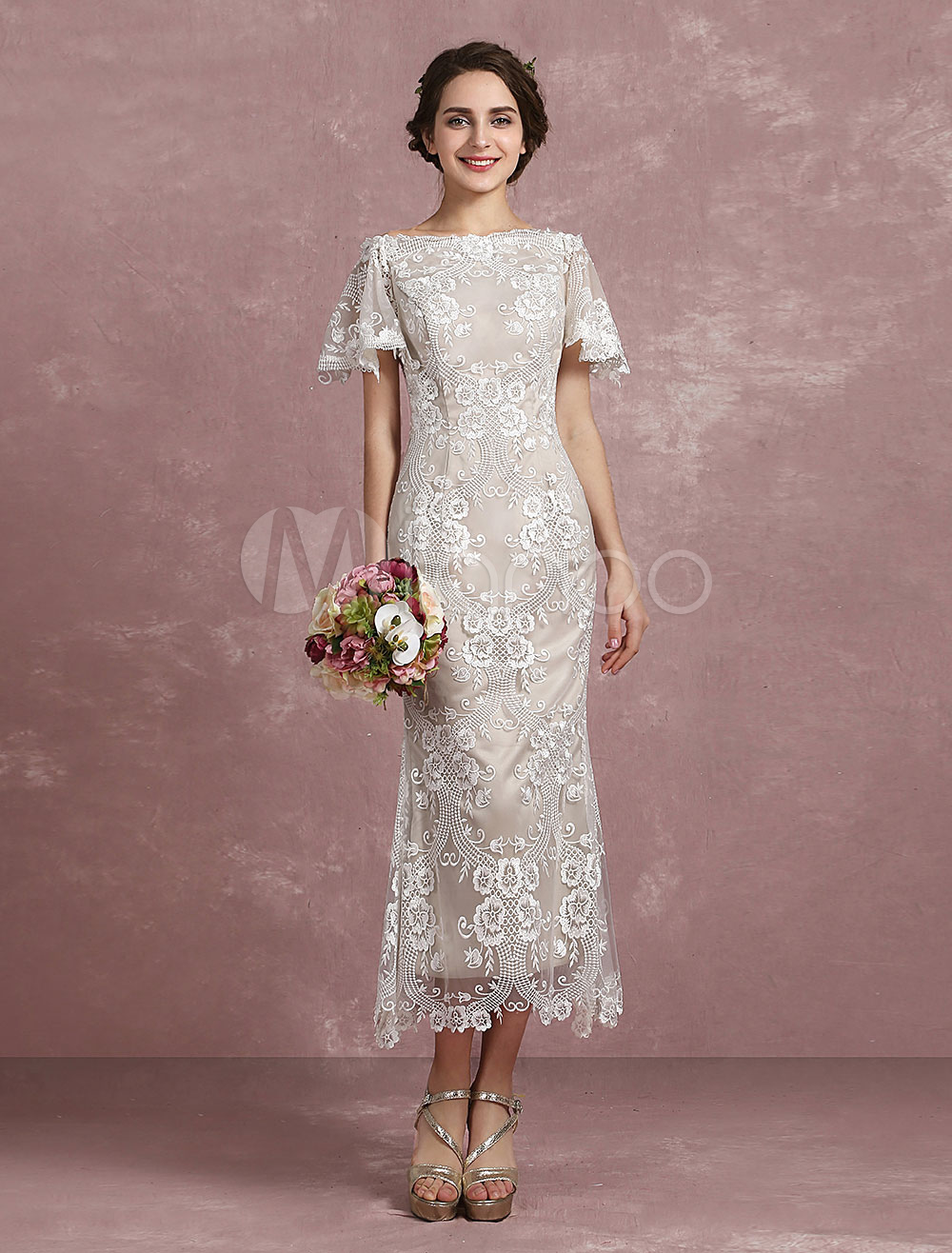 Buy Summer Wedding Dresses 2018 Champagne Lace Mermaid Bridal Gown Off The Shoulder Short Sleeve Illusion Back Beach Bridal Dress Milanoo for $127.49 in Milanoo store