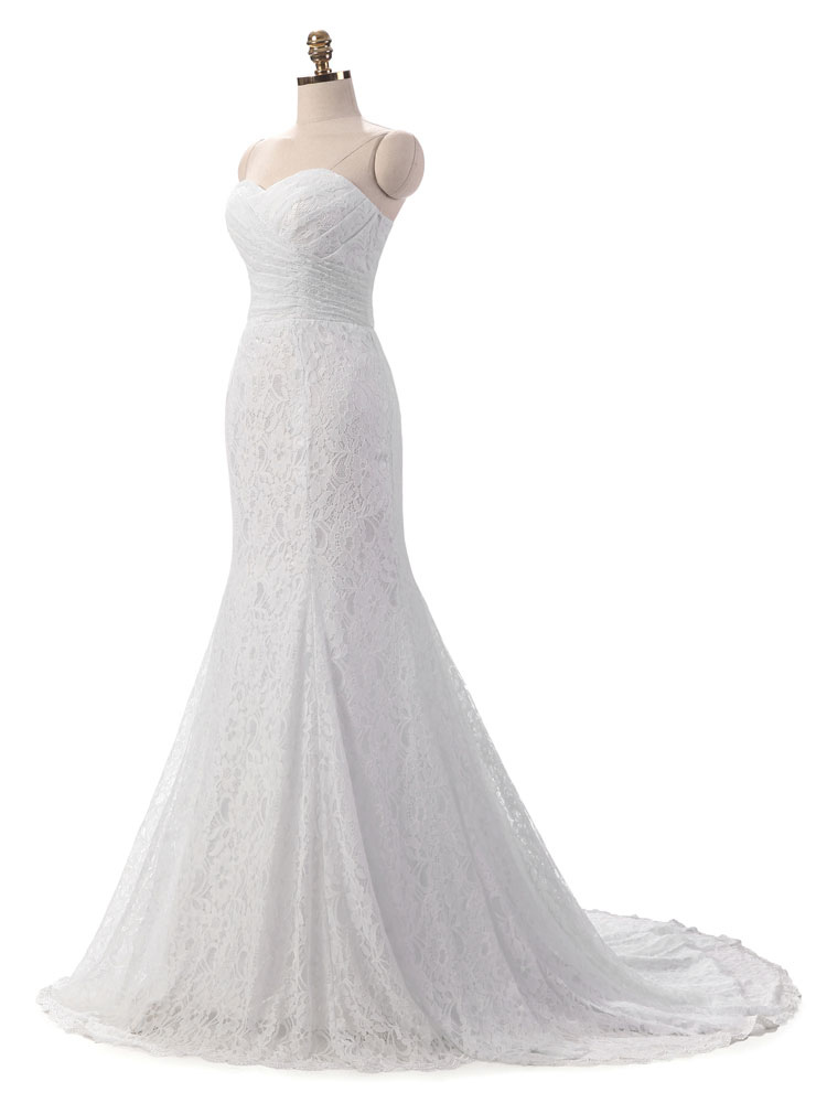 Mermaid Wedding Dress White Lace Fit And Flare Bridal