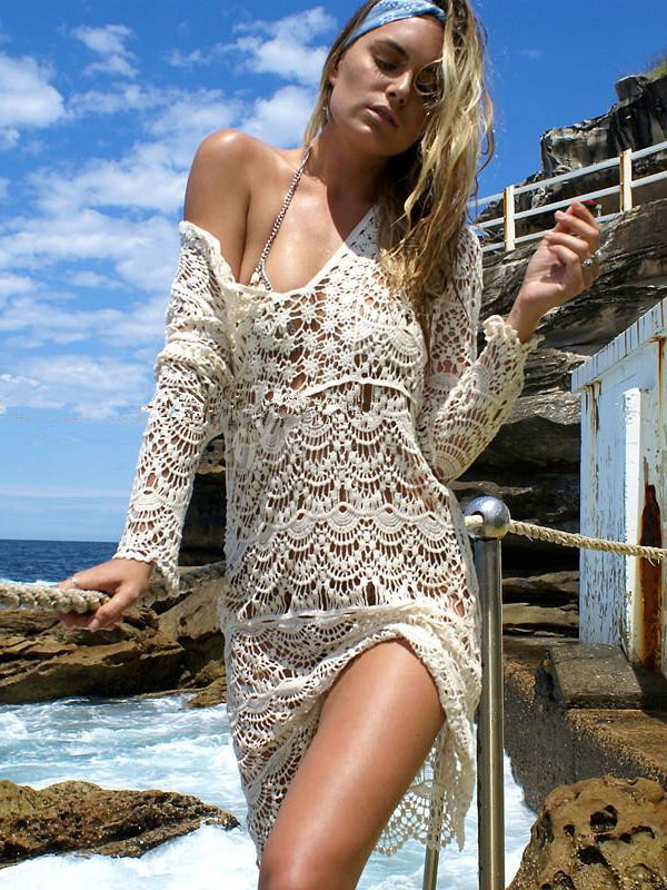 8aaec5856d869 Crochet Cover Ups Women's Apricot Long Sleeve V Neck Beach Cover Ups ...