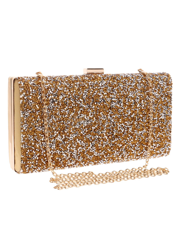 Buy Gold Wedding Clutches Glitter Rhinestone Square Shape Chain Strap Evening Handbags for $39.99 in Milanoo store