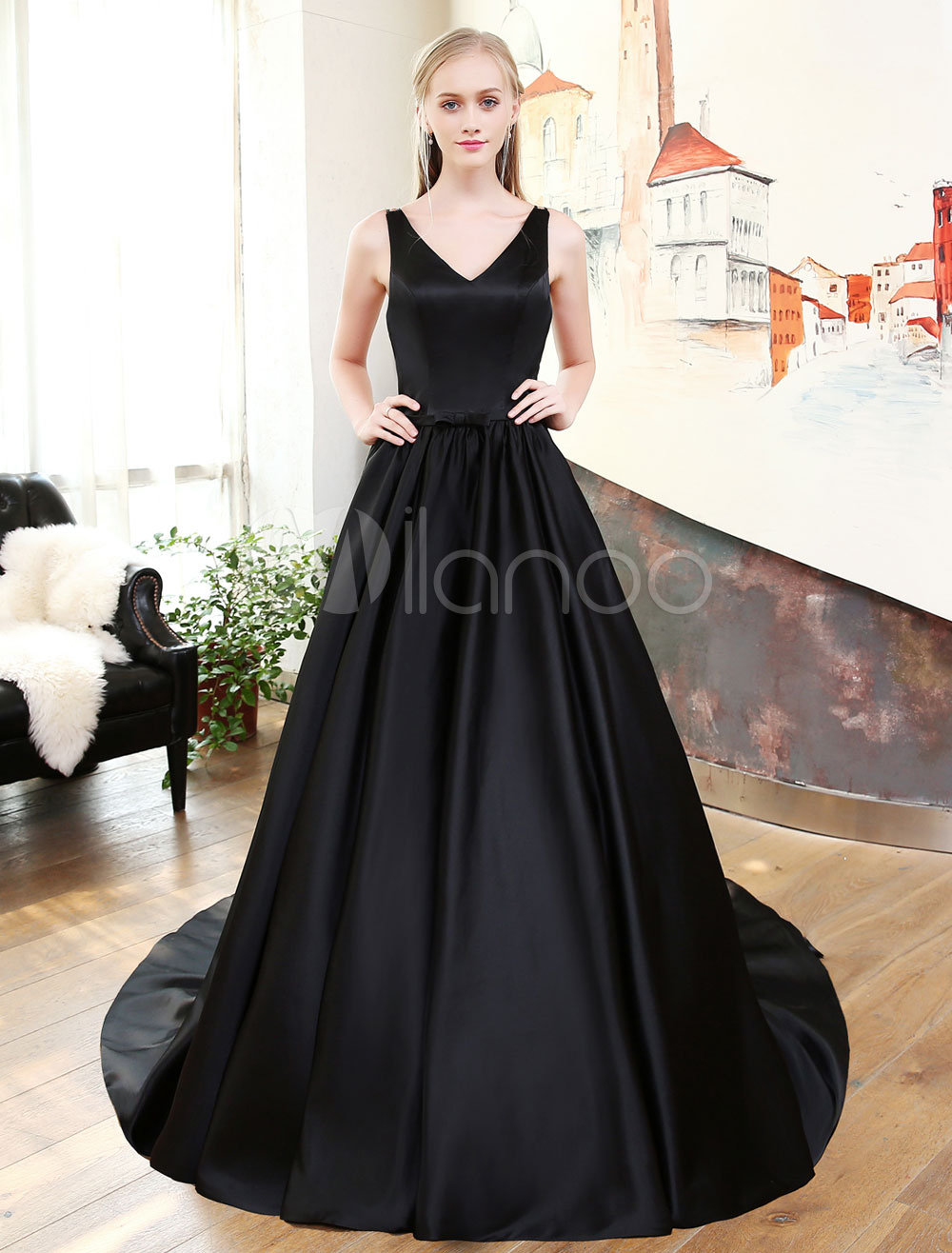 Buy Black Prom Dresses Long V Neck Satin Evening Dresses Cross Back Pleated Bow Sash Formal Dress for $197.09 in Milanoo store