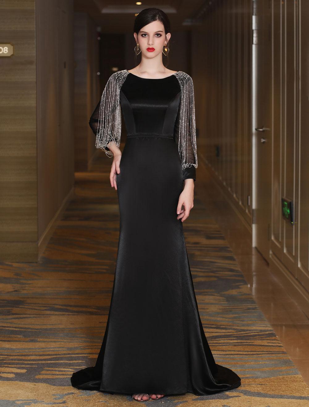 Schwarze Abendkleider Luxus Meerjungfrau Mutter Kleid lange Ärmel Ketten  bördelnde formale Anzug Kleider mit Zug