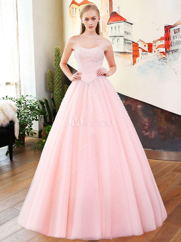 promo code 5b4db 6fe20 Vestiti da promenade di lusso Vestito rosa quinceanera rosa senza spalline  in raso abito da sposa principessa con treno