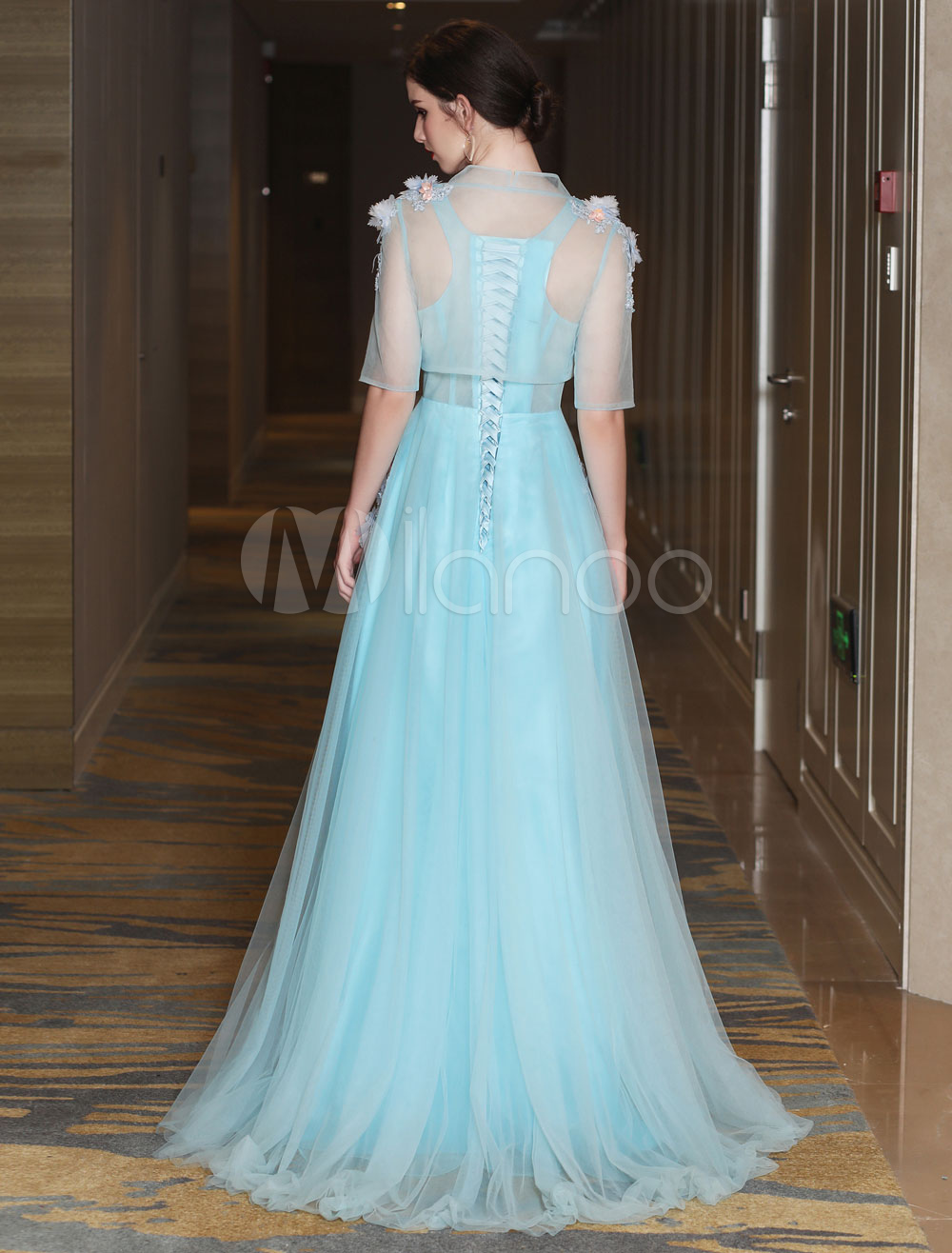 Luxury Prom Dresses Long Two Piece Tulle Lace Flowers Applique ...