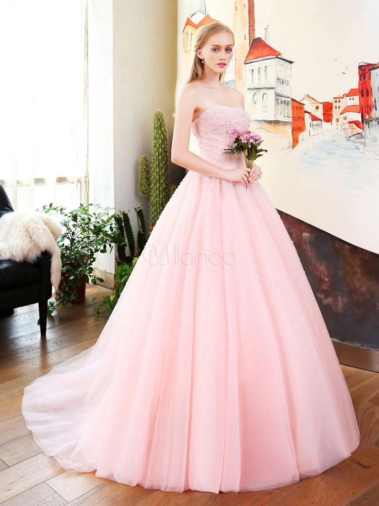 luxus prom kleider tr gerlosen weichen rosa t ll. Black Bedroom Furniture Sets. Home Design Ideas
