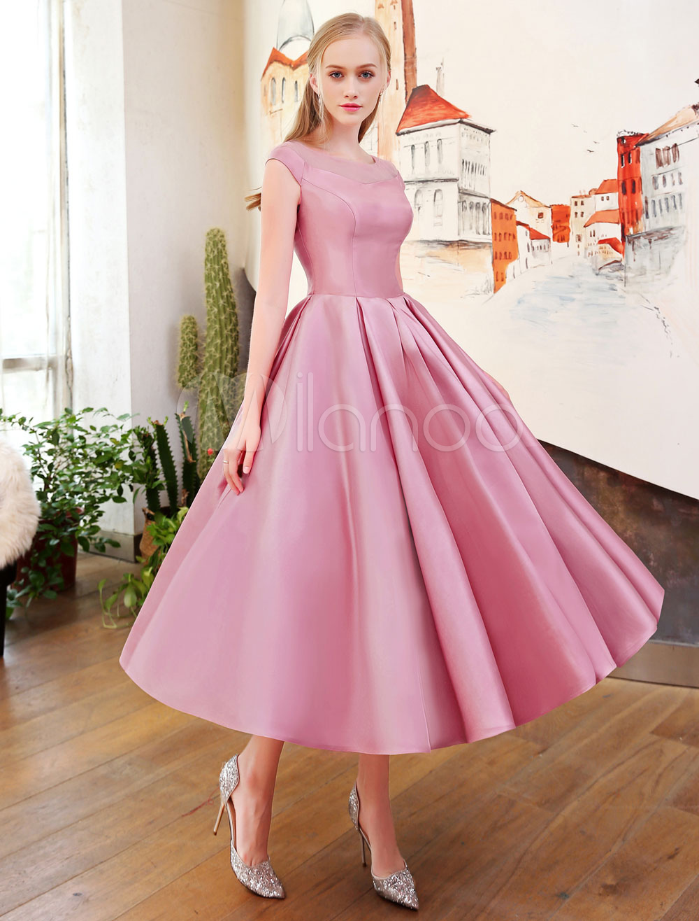 Short Prom Dresses Cameo Pink Satin Homecoming Dress Pleated 1950\'s ...