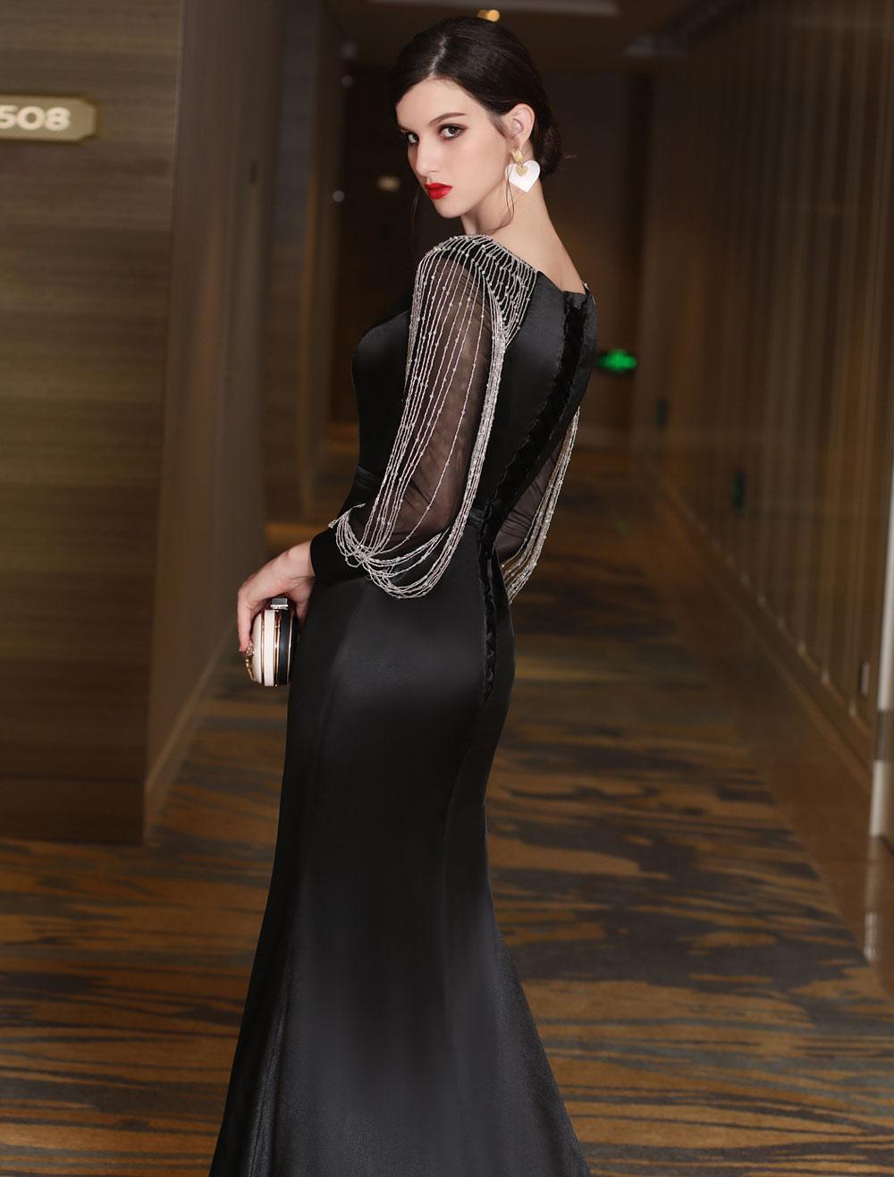 Schwarze Abendkleider Luxus Meerjungfrau Mutter Kleid lange Ärmel ...