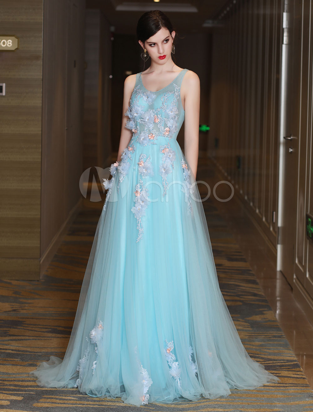 c1081e6cbd5 Luxury Prom Dresses Long Two Piece Tulle Lace Flowers Applique Beading  Pastel Blue Capelet Formal Party ...