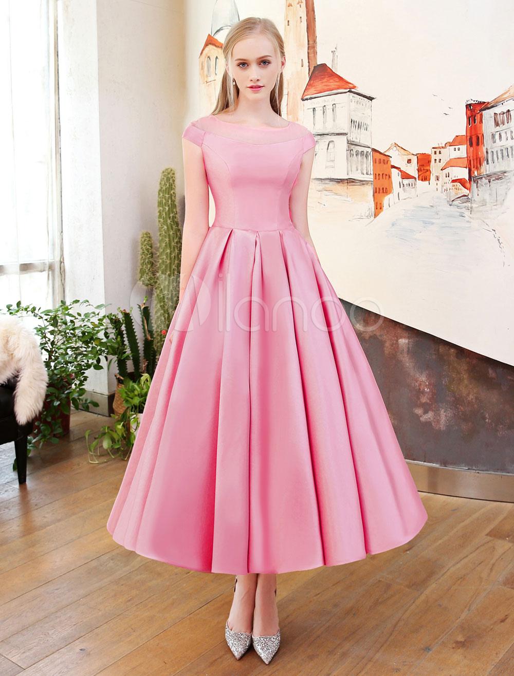 robes de bal courtes cameo robe de f te de mariage en satin rose pliss vintage 39 s illusion. Black Bedroom Furniture Sets. Home Design Ideas