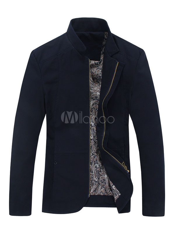 Milanoo / Men's Slim Fit Jacket Stand Collar Navy/Black/Khaki Cotton Coat