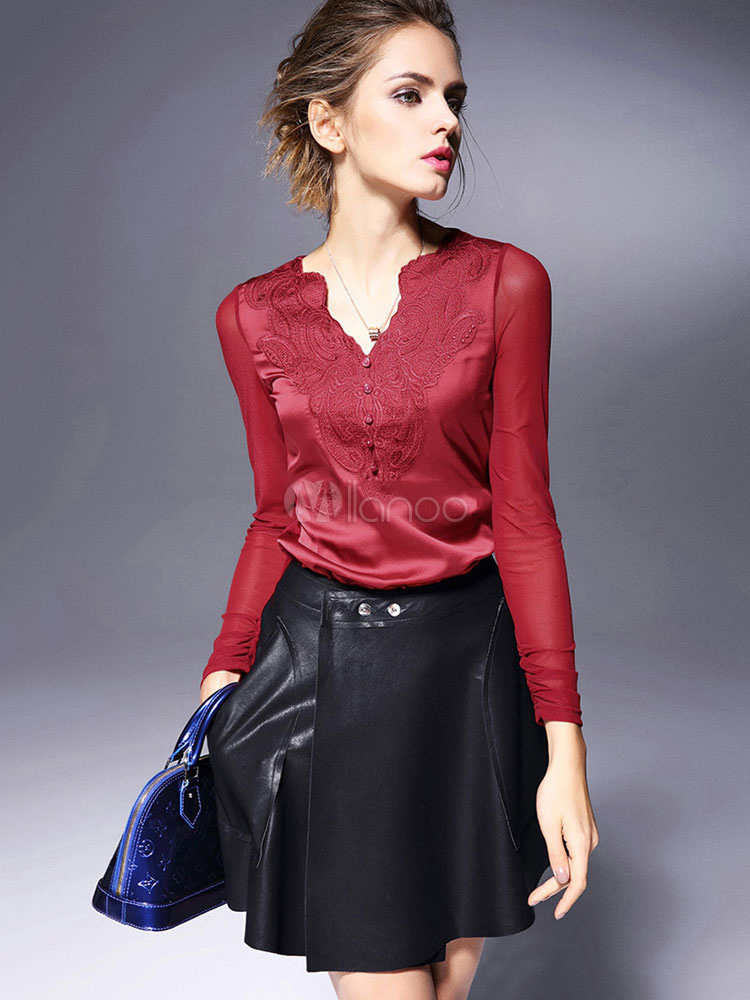 Buy Red V-neck Acetate Top for Women for $22.49 in Milanoo store
