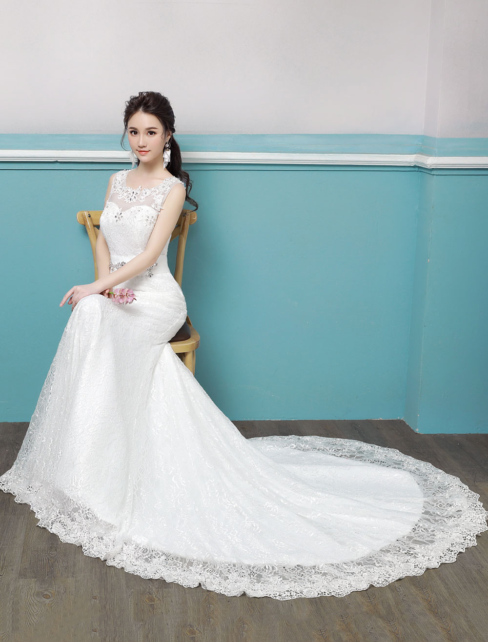 Mermaid Wedding Dresses Lace Beading Keyhole Sash Sleeveless Bridal ...