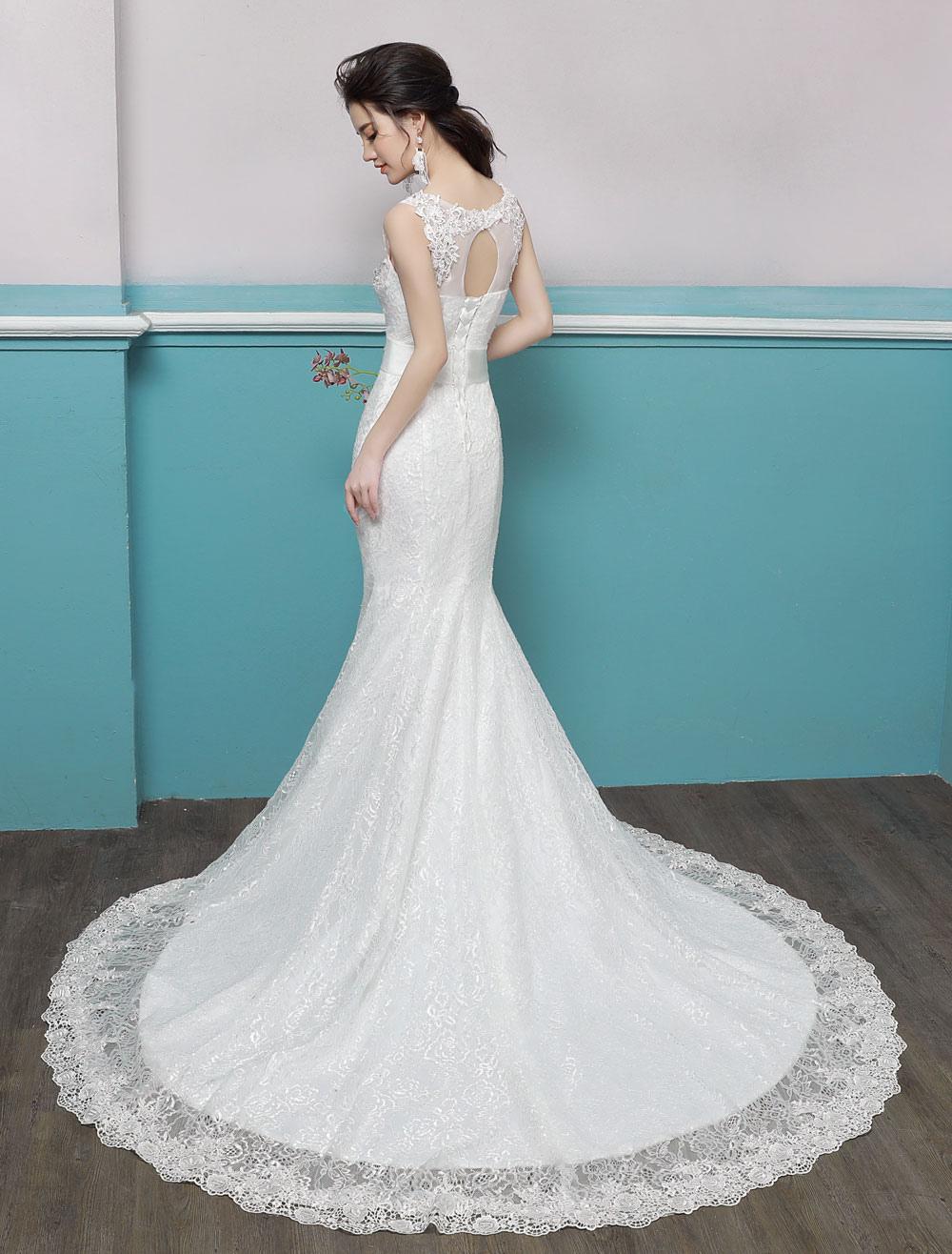 Vestido de novia de sirena Con cola cintura natural con escote ...