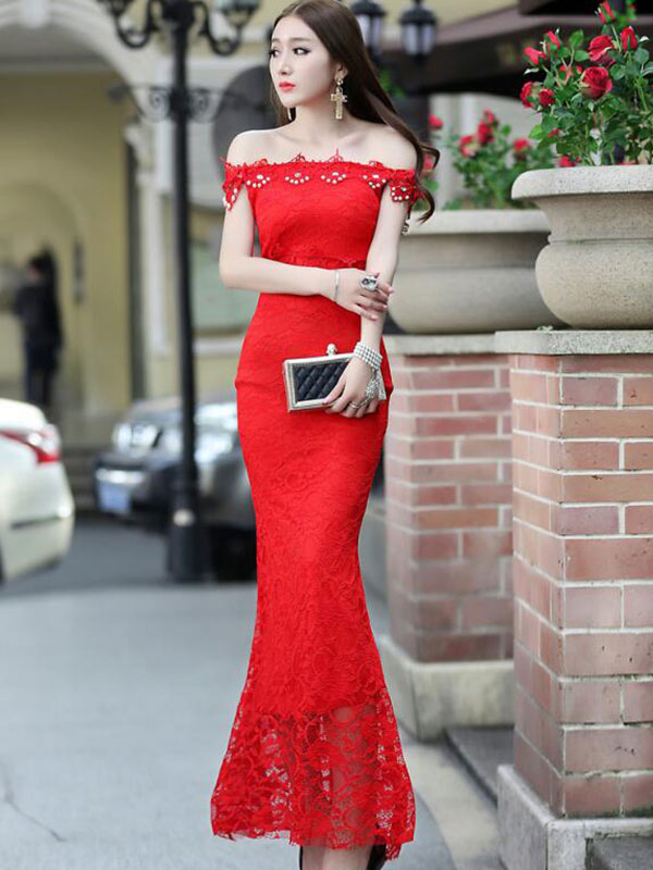 Mermaid Maxi Dress Red Off-The-Shoulder Lace Bodycon Dress Cheap clothes, free shipping worldwide