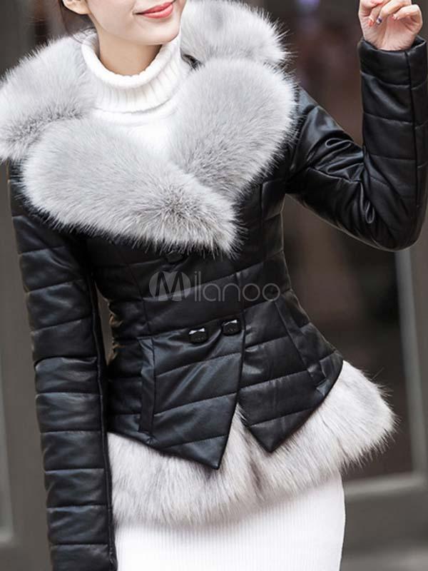 size 40 968d0 4d3dc Manica lunga pelliccia finta pulsante PU pelle giacca giacca invernale  donna nera