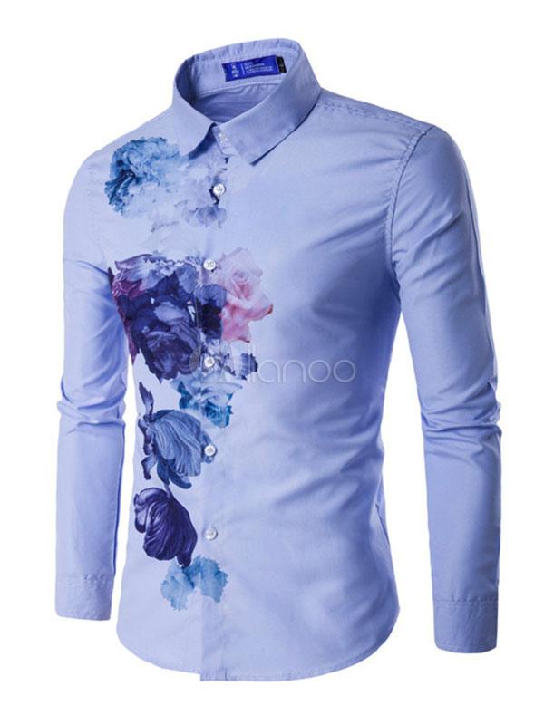 Men Shirt Casual Floral Print Long Sleeve Top Light Blue Cotton Shirt