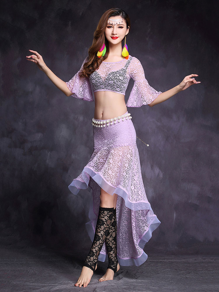 5c85036fb Belly Dance Costume White Lace Sheer Bell Sleeve Crop Top With ...