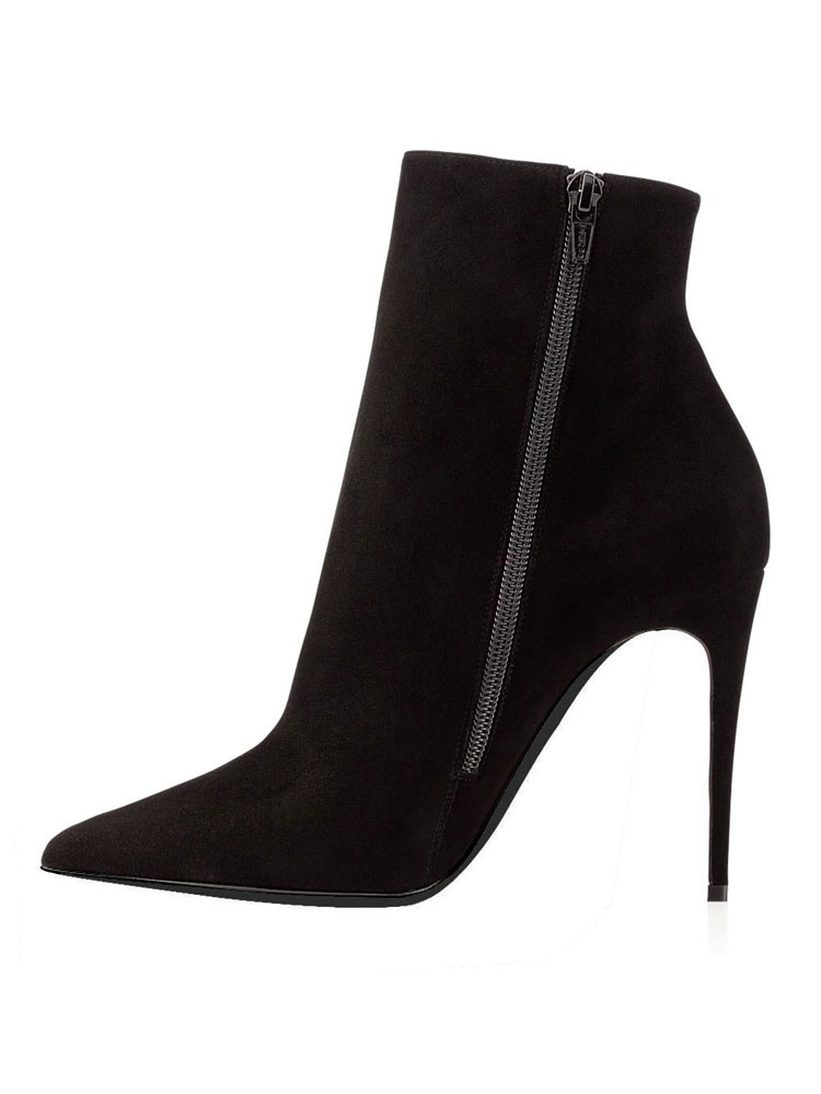 57647e2e718ec ... Suede Black Booties High Heel Pointed Toe Ankle Boots Women s Solid  Color Stiletto Party Shoes- ...