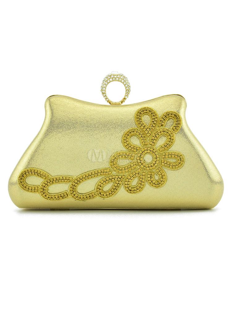 Buy Gold Wedding Clutch Bag Rhinestones Beading Bridal Evening Party Handbags for $42.74 in Milanoo store
