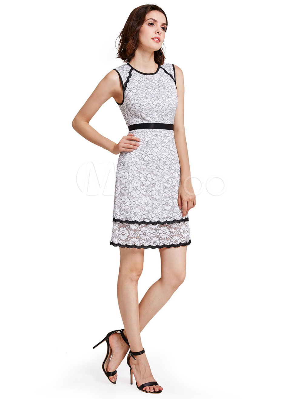 Buy White Party Dresses Lace Round Neck Sleeveless Cocktail Dresses A Line Short Prom Dresses for $57.19 in Milanoo store