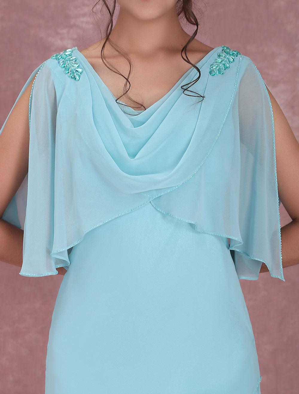 Vestido para la madre de los novios Color menta con escote drapeado ...