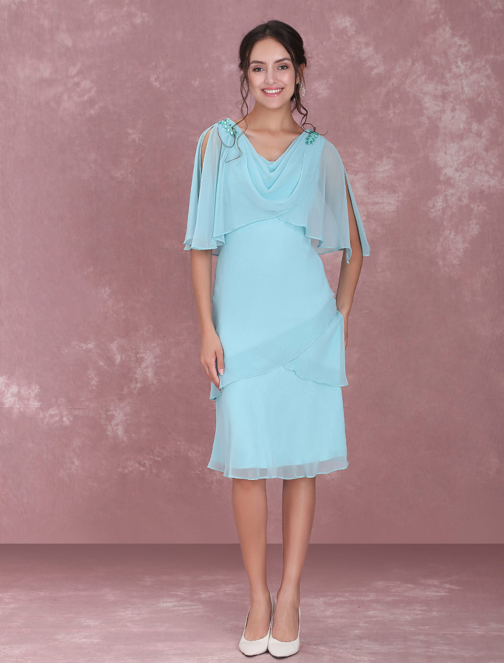 Buy Mother Of The Bride Dresses Mint Green Chiffon Cocktail Dress Tiered Cowl Neck Split Sleeve Wedding Guest Dresses for $123.24 in Milanoo store