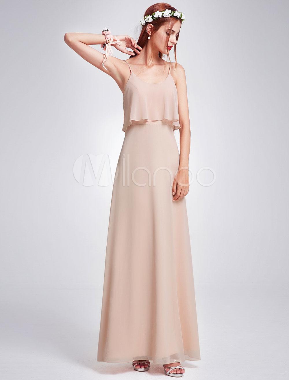 Erröten Brautjungferkleid A-Linie- bodenlang stufig mit Trägern und ...