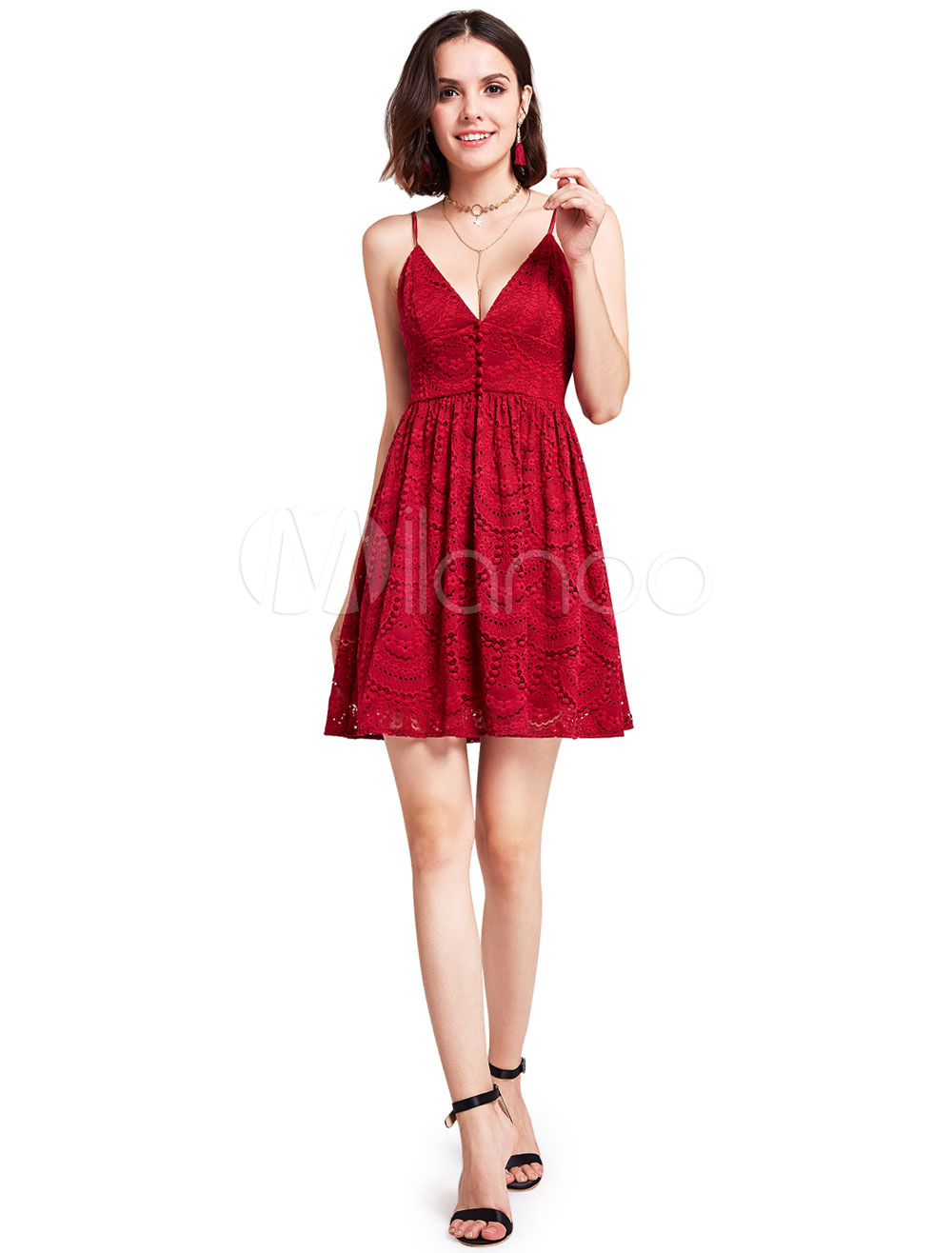 Buy Burgundy Party Dresses Lace V Neck Sleeveless Backless Cocktail Dresses A Line Straps Short Occasion Dresses for $79.19 in Milanoo store