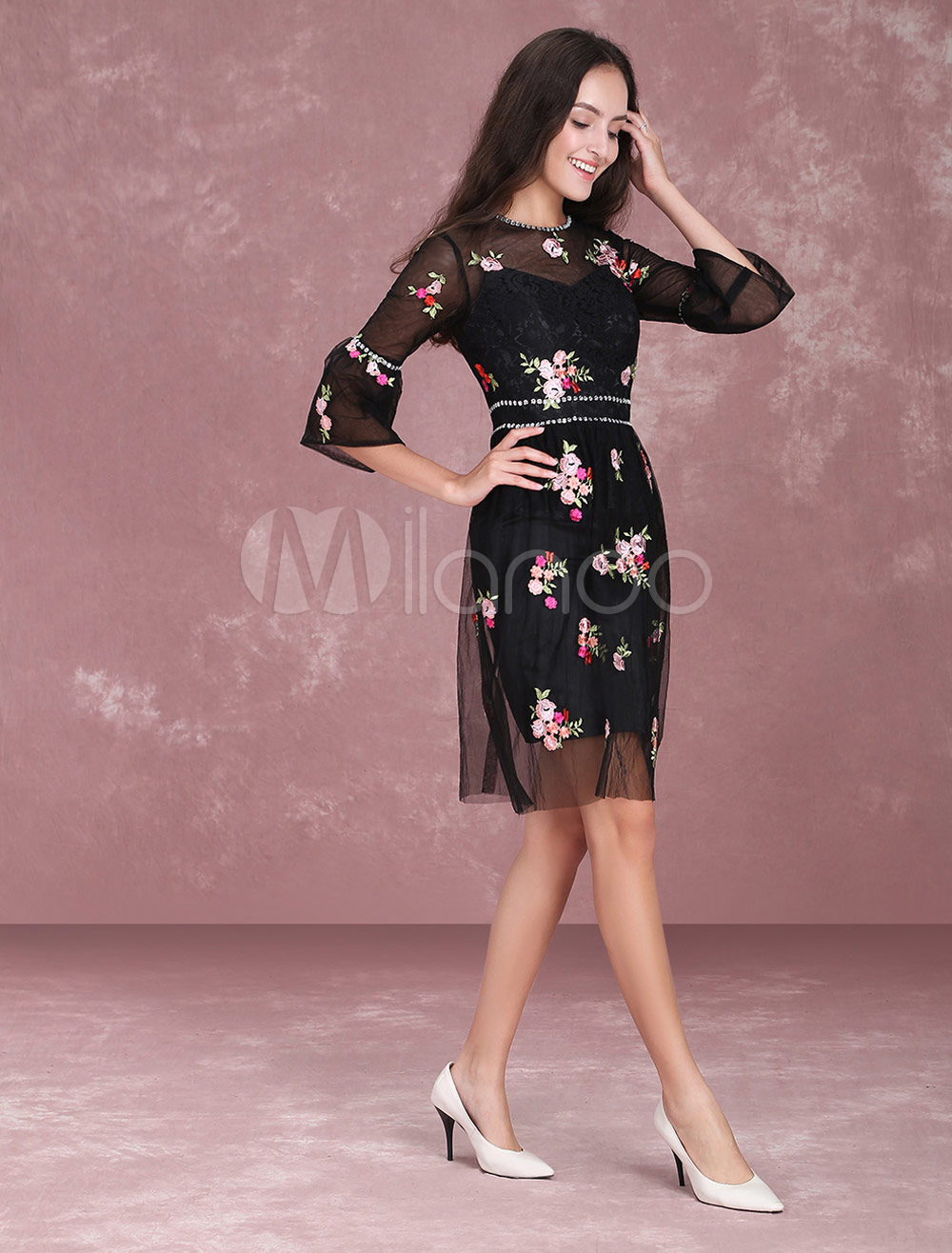 Black prom dresses short floral wedding guest dress for 3 4 sleeve wedding guest dress