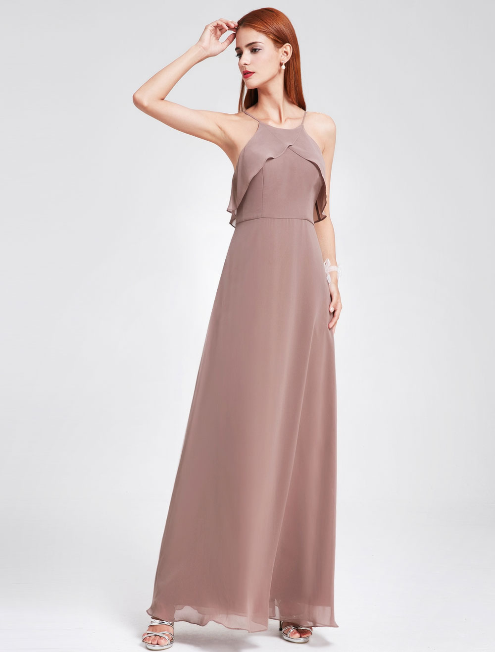 Buy Chiffon Bridesmaid Dresses Halter Sleeveless Backless Prom Dress Ruffles Taupe A Line Floor Length Party Dresses for $105.59 in Milanoo store