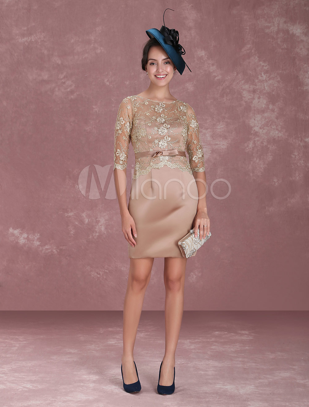 Buy Mother Of The Bride Dresses Lace Sheath Short Brown Knee Length Half Sleeve Satin Sash Wedding Guest Dresses for $131.74 in Milanoo store