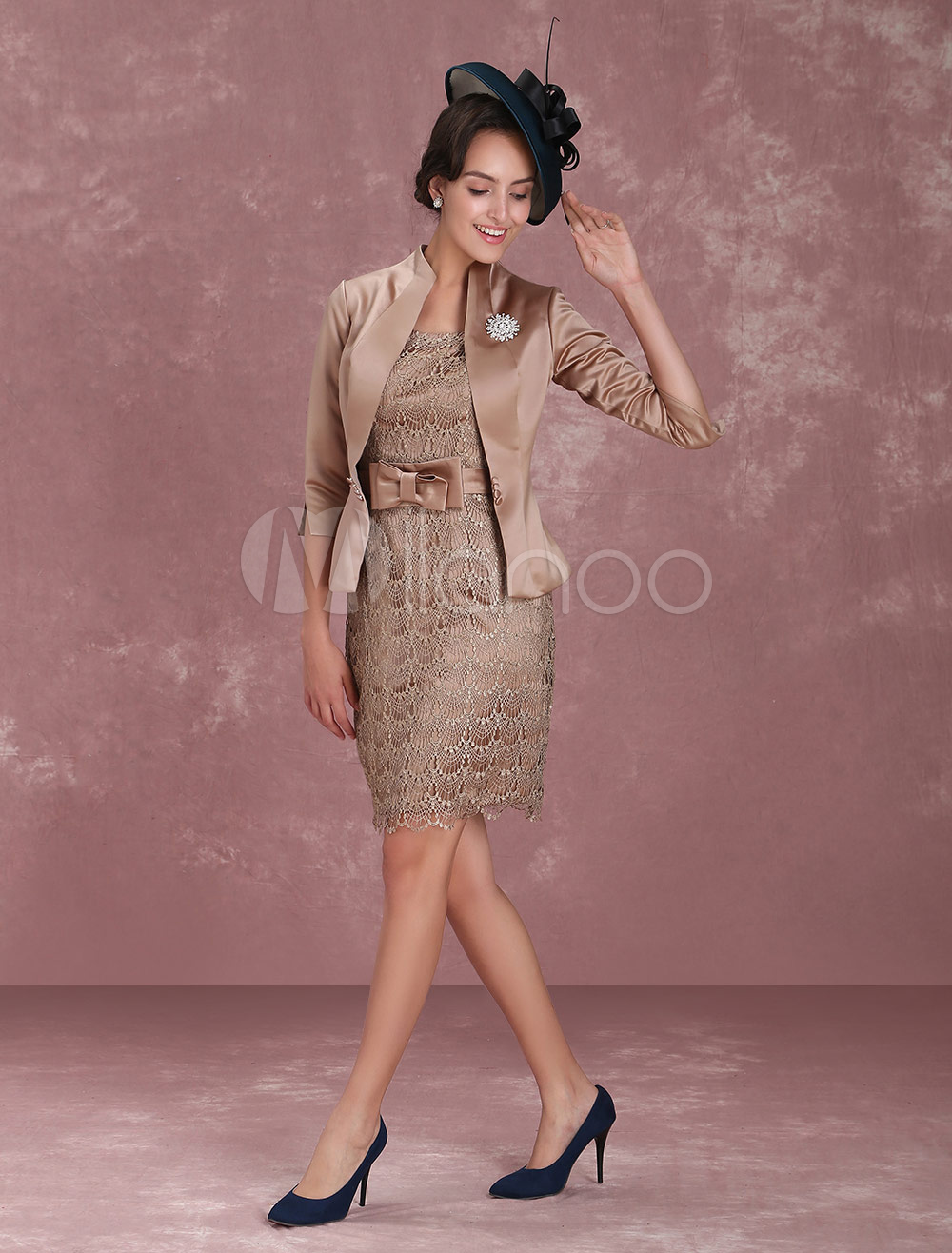 5ba4c2c0de4 Mother Of The Bride Dresses Short Sheath Wedding Guest Dresses 2 Piece  Taupe Crystal Brooch Knee ...