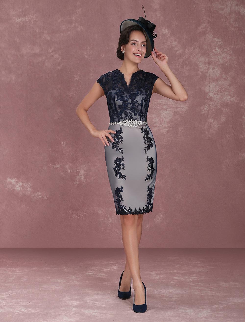 49145a75248 Mother Of The Bride Dresses Short Sheath Dark Navy Cocktail Dresses Half  Sleeve Lace Beading Sash ...