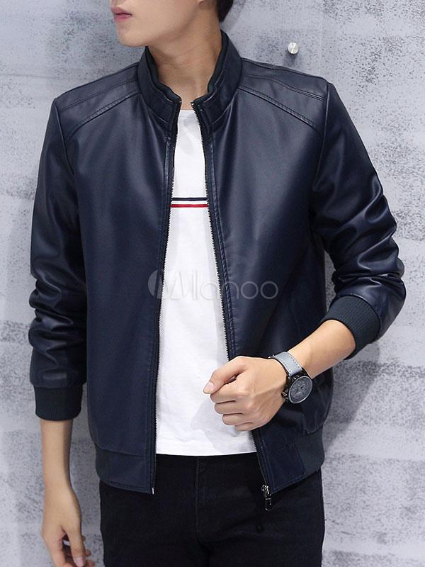 Men's Bomber Jacket PU Leather Zip Up Casual Short Jacket In Black/blue/dark Red