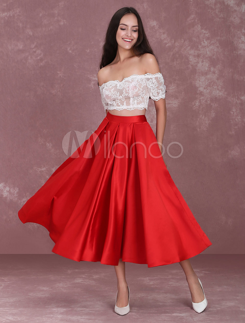 66f10f6921b 2 Piece Homecoming Dresses Off The Shoulder Lace Illusion Red Satin Skirt  Pleated Crop Top Prom ...
