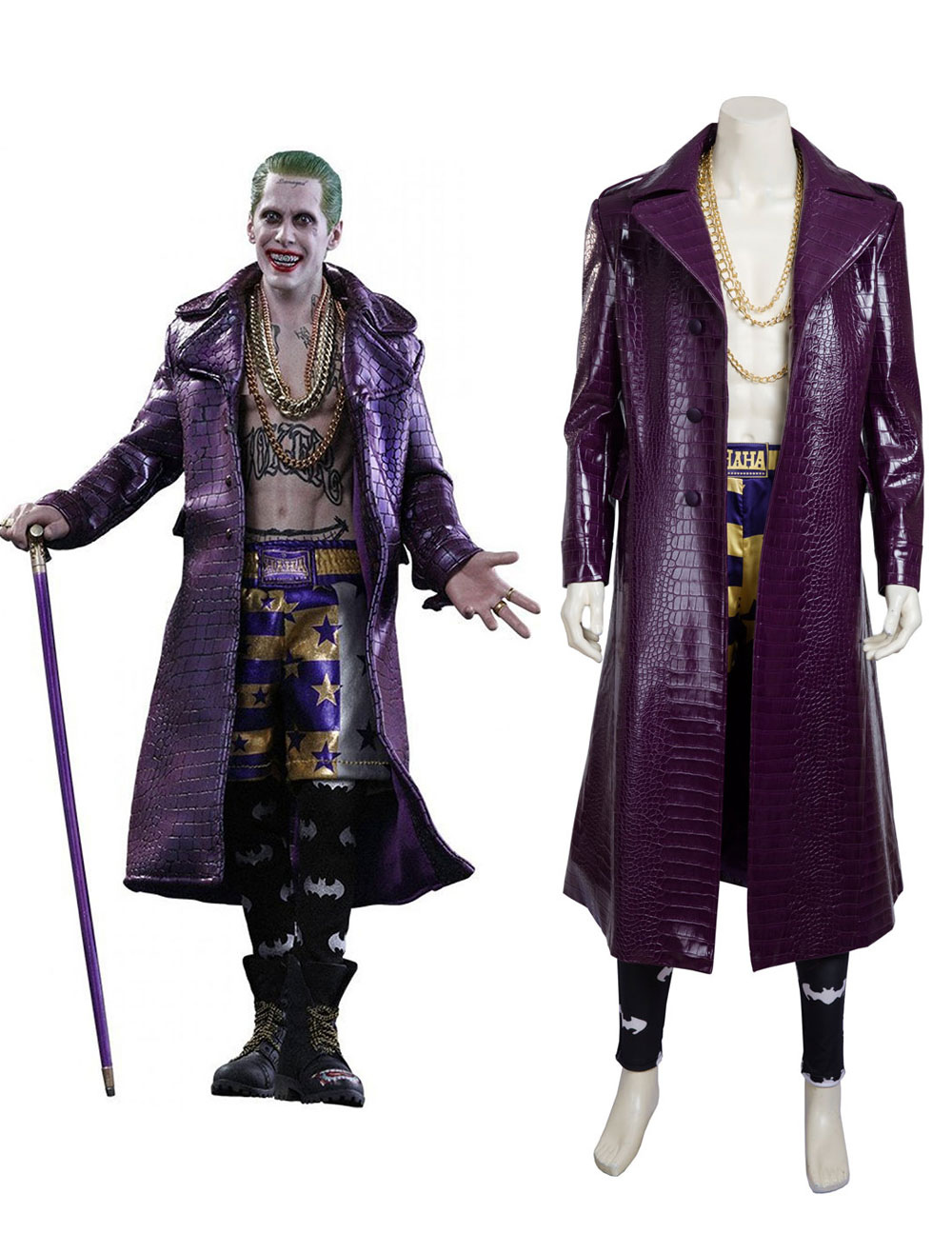 Suicide Squad Joker Halloween Costume.Suicide Squad Joker 2017 Film Halloween Cosplay Costume Deluxe Edition In 4 Pieces