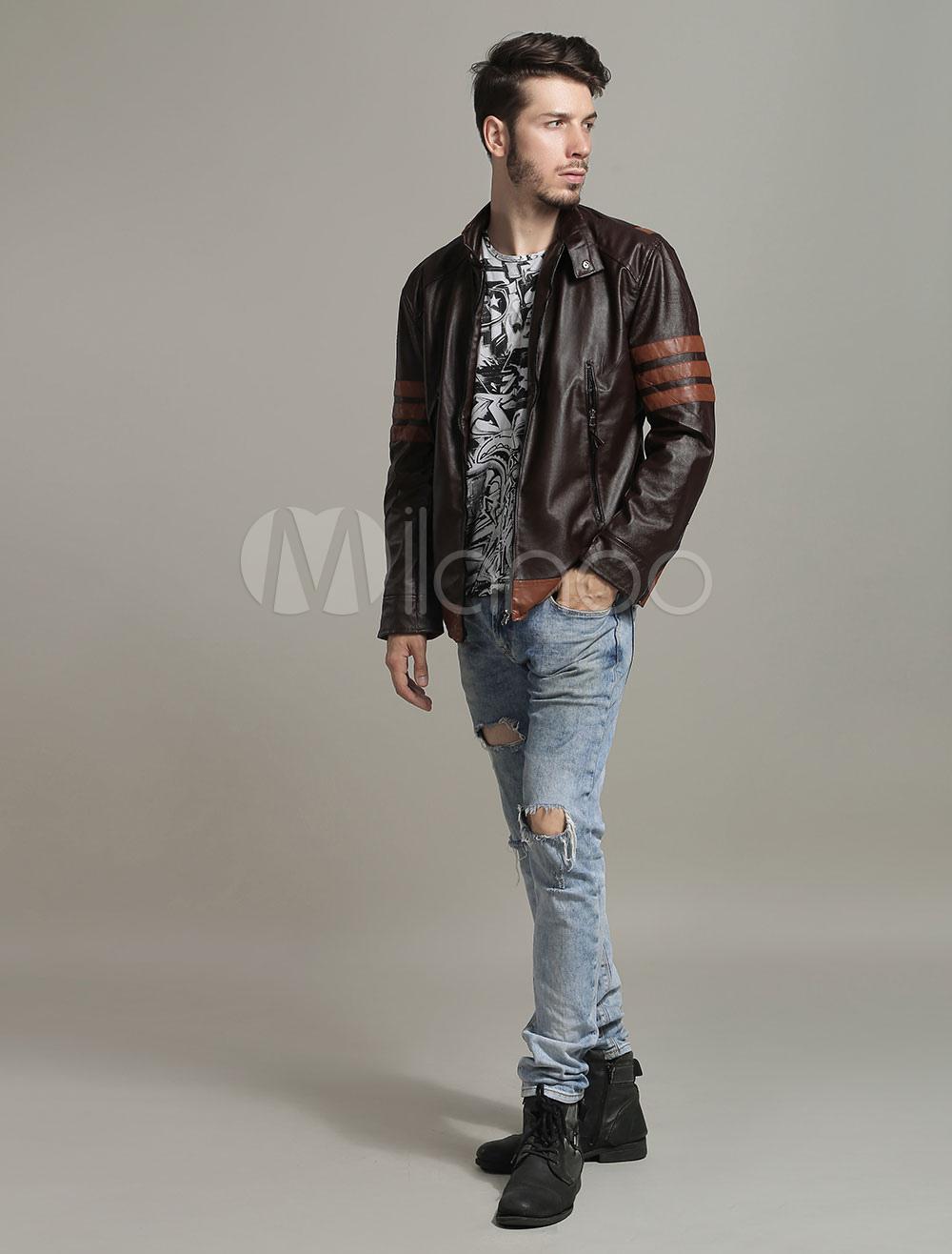 d2a202ba086 ... Коричневый байкер кожаная куртка Росомаха стиль стоячий воротник  пальто-No.7 ...