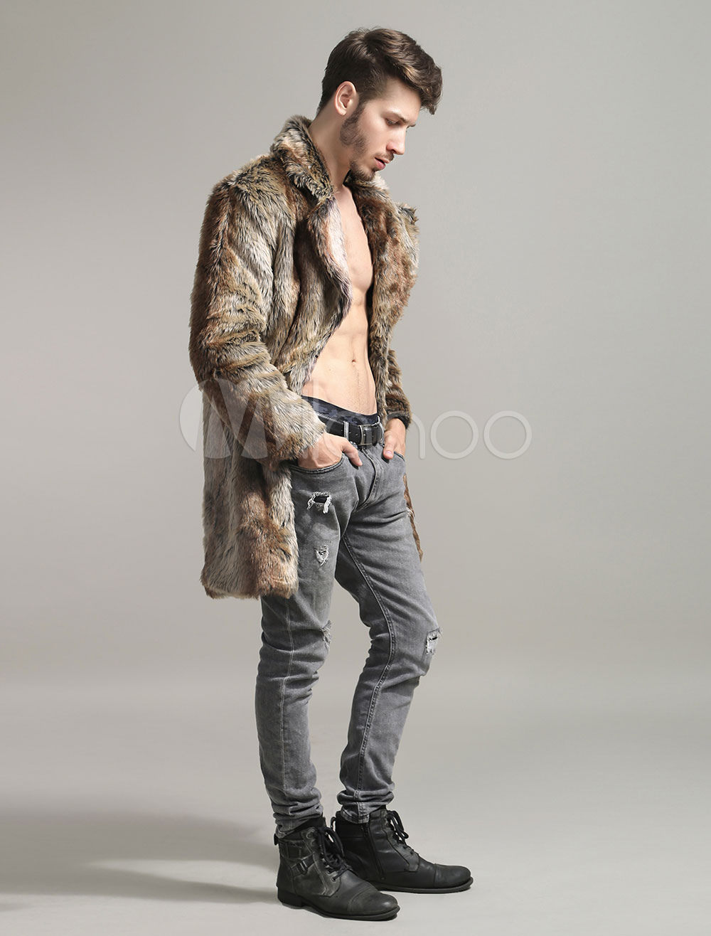 135f74898b01d ... Men Faux Fur Coats Long Sleeve Oversized Collar Winter Coats-No.5 ...