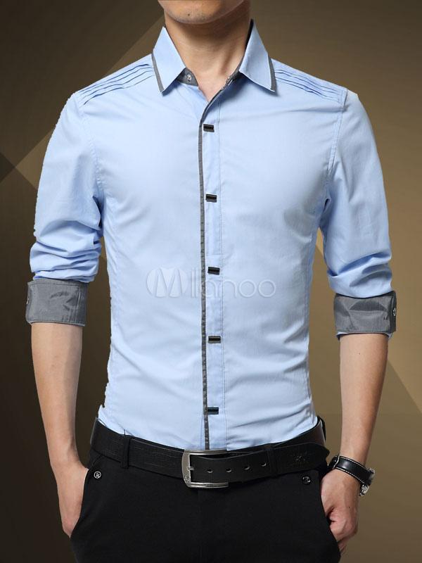 selezione migliore 9df85 a2132 Camicia da uomo elegante del business casual con blocchi di colore maniche  lunghe cotone da lavoro autunno