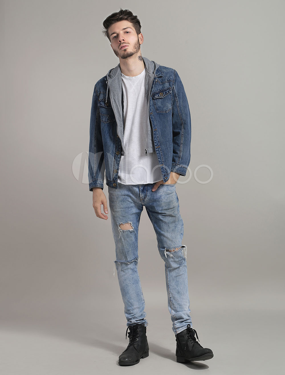 Men Denim Jacket Hooded Short Jacket Patchwork Washed Jean
