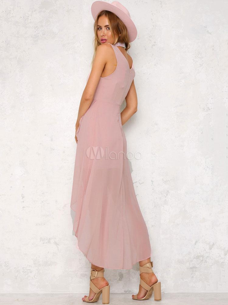 robe longue rose en chiffon unicolore multicouche col v. Black Bedroom Furniture Sets. Home Design Ideas