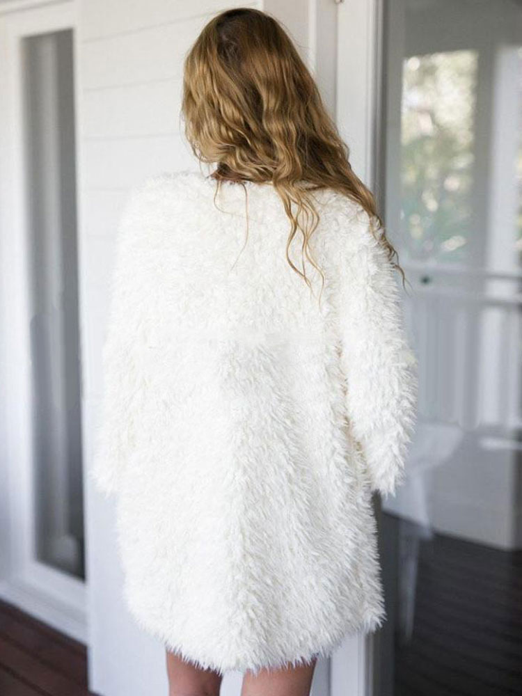 Milanoo / White Faux Fur Coat Long Sleeve Winter Coats For Women