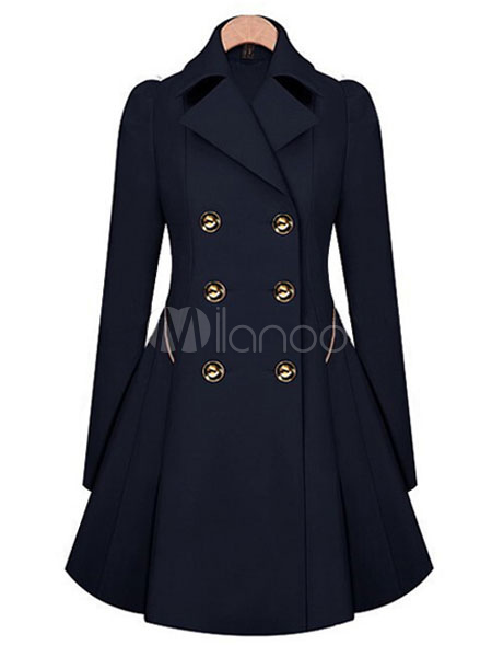 Trench Women Coat Navy Peacoat Long Sleeve Winter Women Overcoat Cheap clothes, free shipping worldwide