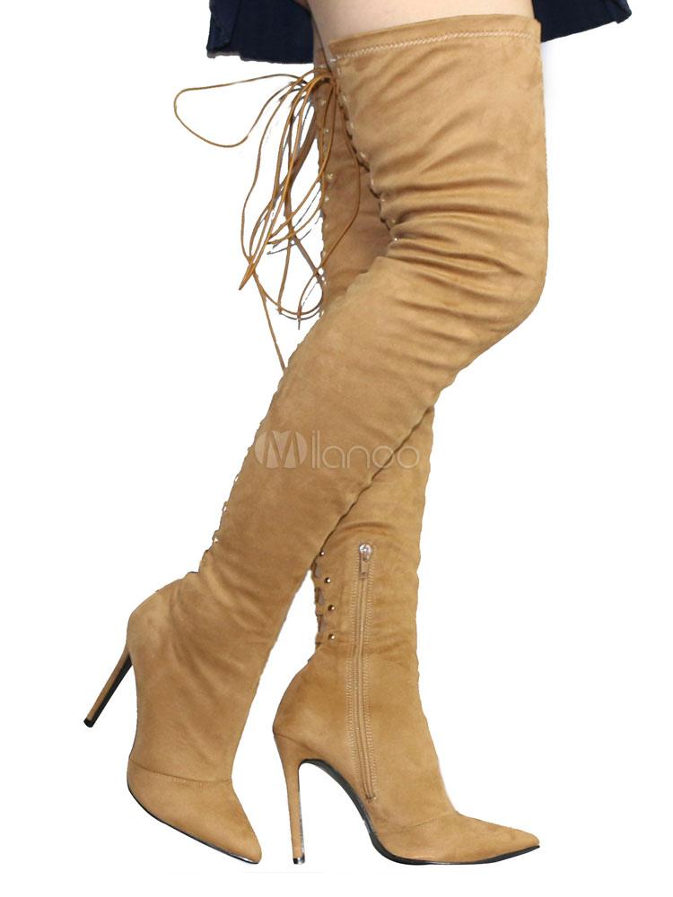 Sobre las botas de la rodilla tacón alto señaló el dedo del pie hasta el tacón estilete estiramiento botas altas CQApqDoN