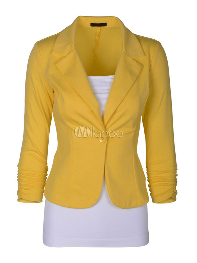 Women Casual Blazer Yellow Spring Jacket Long Sleeve Button Lightweight Jacket Cheap clothes, free shipping worldwide