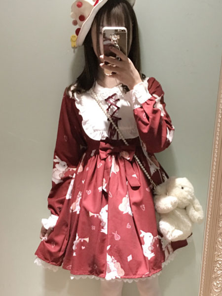 Sweet Lolita Dress OP Burgundy Lolita Dress Lace Up Printed Long Sleeve Flare Dress For Lolita