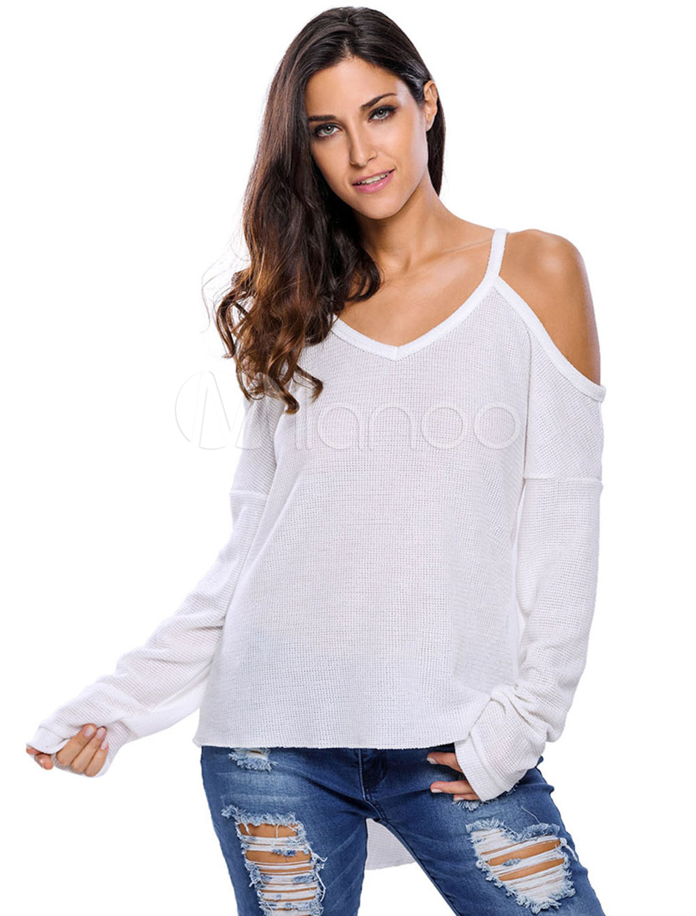 Long Sleeve T-shirt White Women's Cold Shoulder U-neck High Low Casual Top Cheap clothes, free shipping worldwide